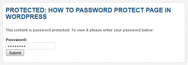 Password Protect WordPress post and pages 2